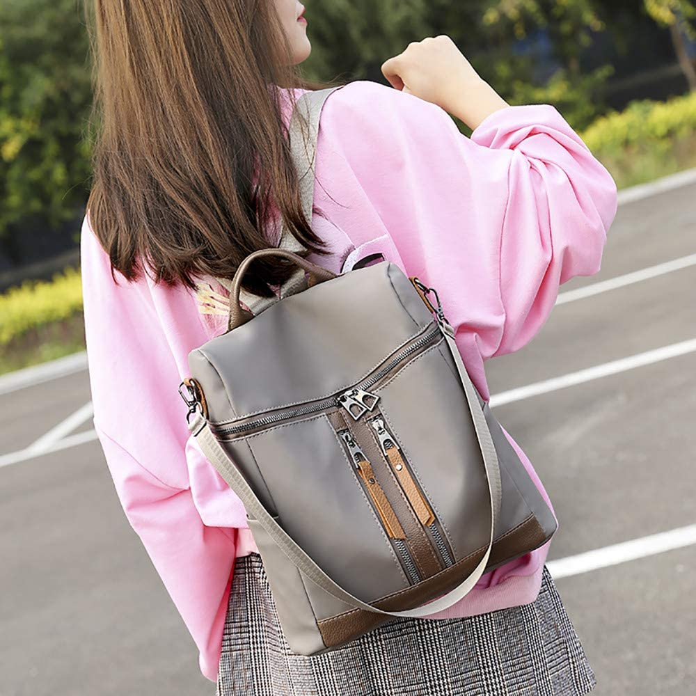 JJLIKER ❤ Women Backpack Simple Solid Zipper Oxford Cloth Student Travel Bag