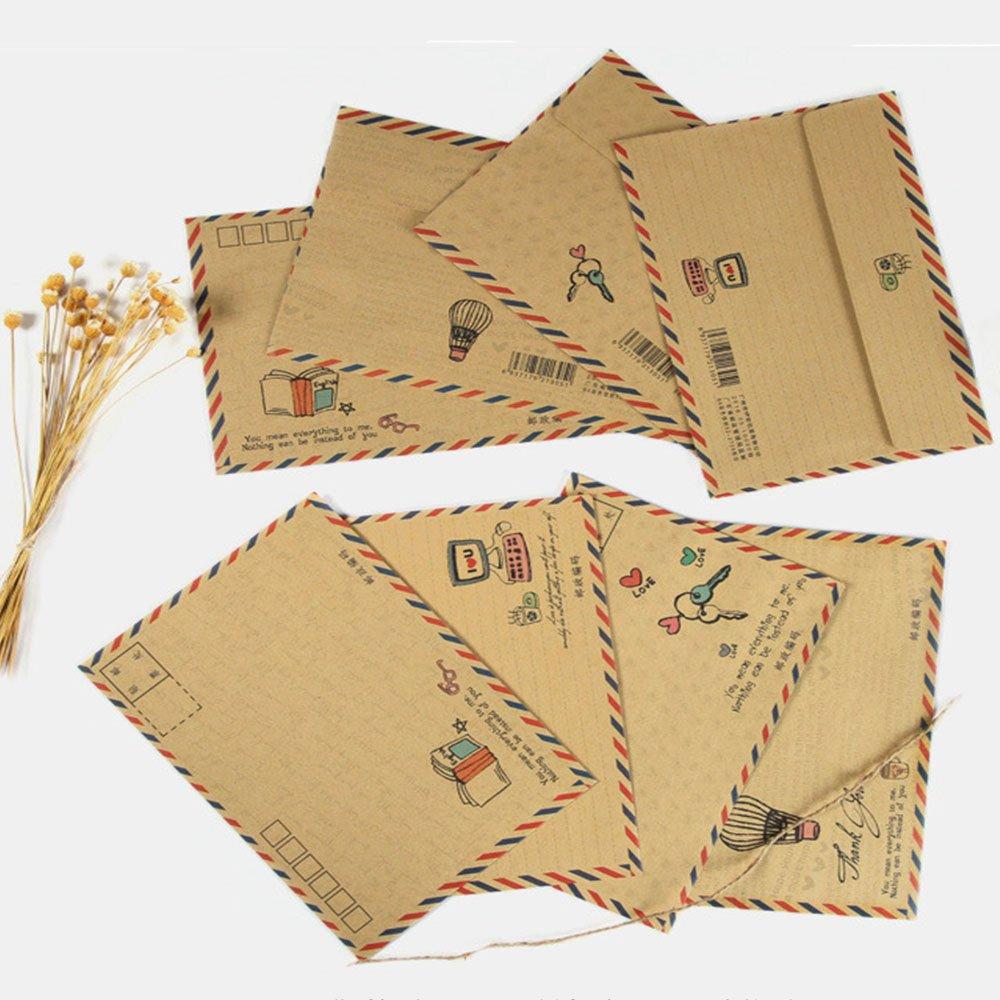 Buste Lettera Posta Aerea, 8 pezzi Busta di Carta Retro Cartolina, Busta di Carta Cartolina Regalo Impostato per Biglietto di Auguri, Invito a Nozze da Viaggio vientiane
