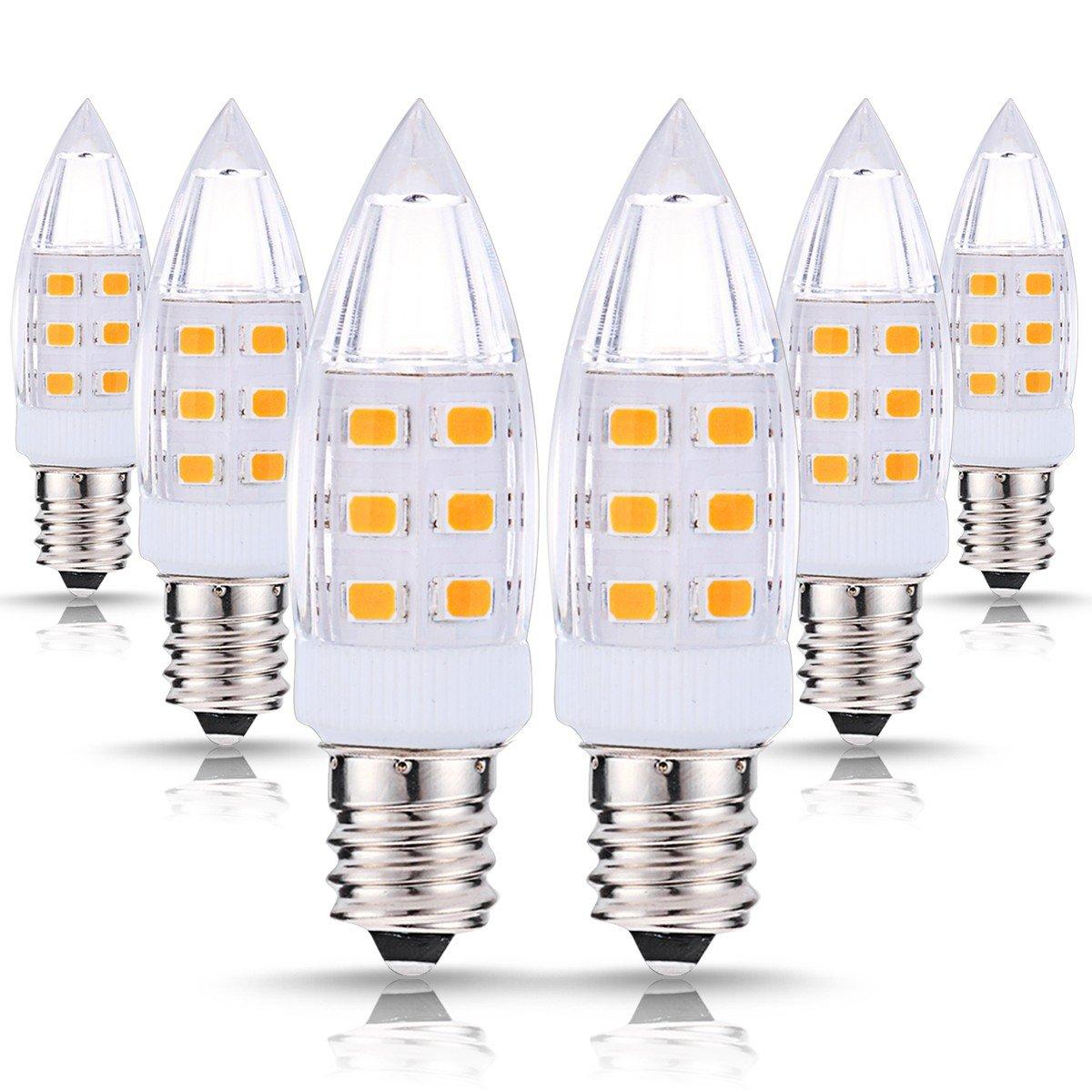 JandCase LED C7 Candelabra Night Light Bulbs, 2W (15W Incandescent Equivalent), 200LM, Natural Daylight White (4000K), Candelabra Base Bulbs for Salt Lamp, Mason Jar, Window Candle, 6 Pack