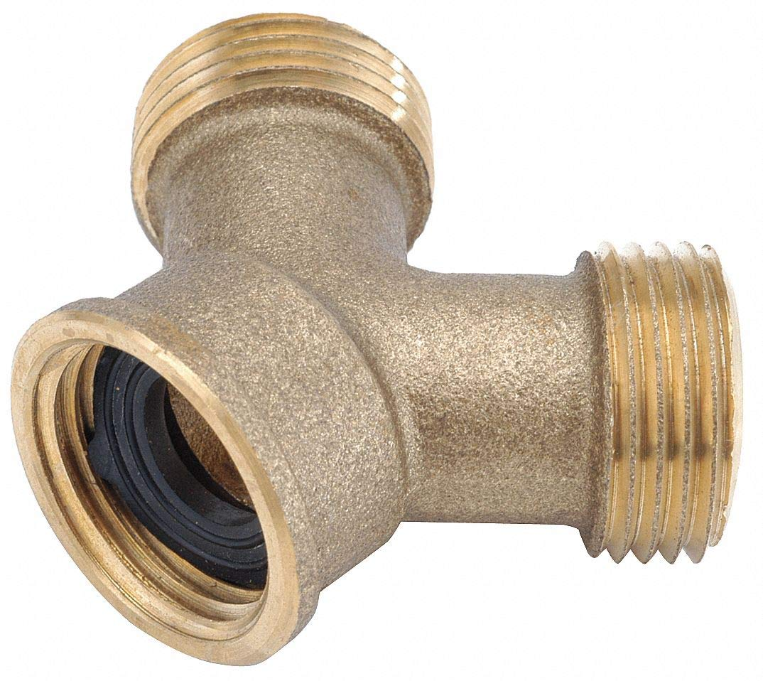 Low Lead Brass Wye, 3/4' FGH x 3/4' MGH Connection by GRAINGER APPROVED (Image #1)