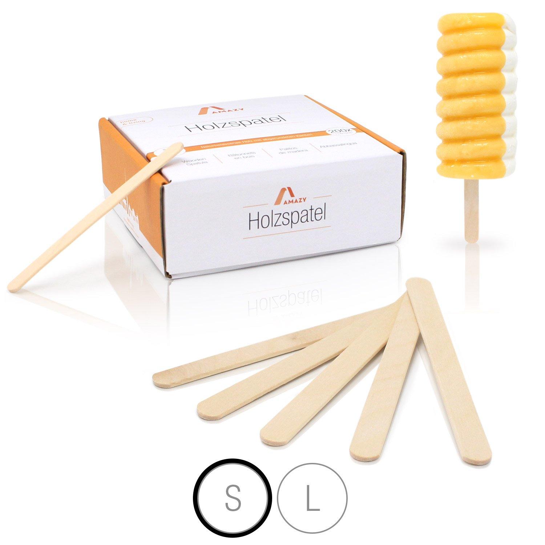 Amazy Palos polo de madera (200 piezas) - Palitos de madera natural ideales para paletas, cera y artesanías (grandes   150 x 18 mm)