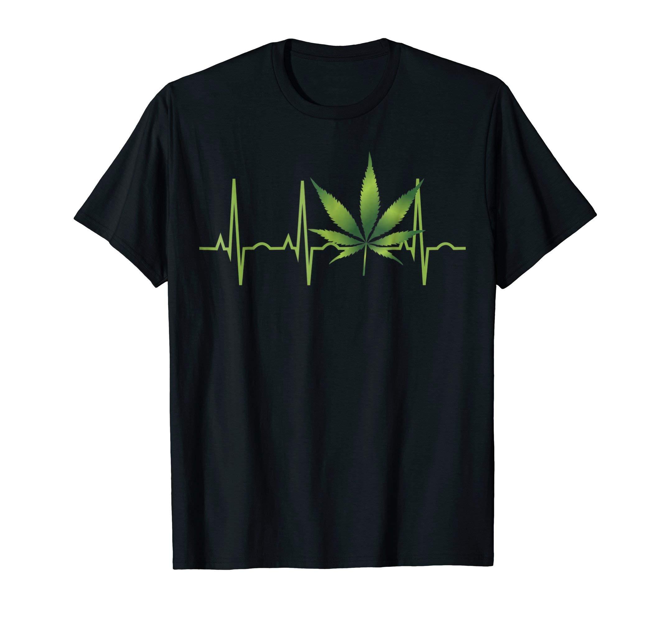 Weed Shirts for Men & Women Marijuana Leaf Heartbeat Gift