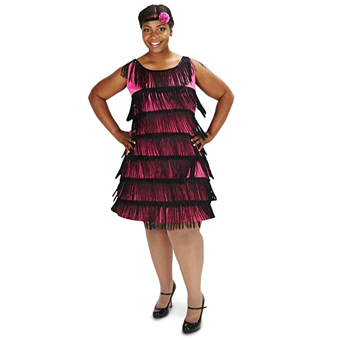 1920s Costumes: Flapper, Gangster, Amelia Earhart 20s Pink Flapper Adult Plus Costume $19.99 AT vintagedancer.com