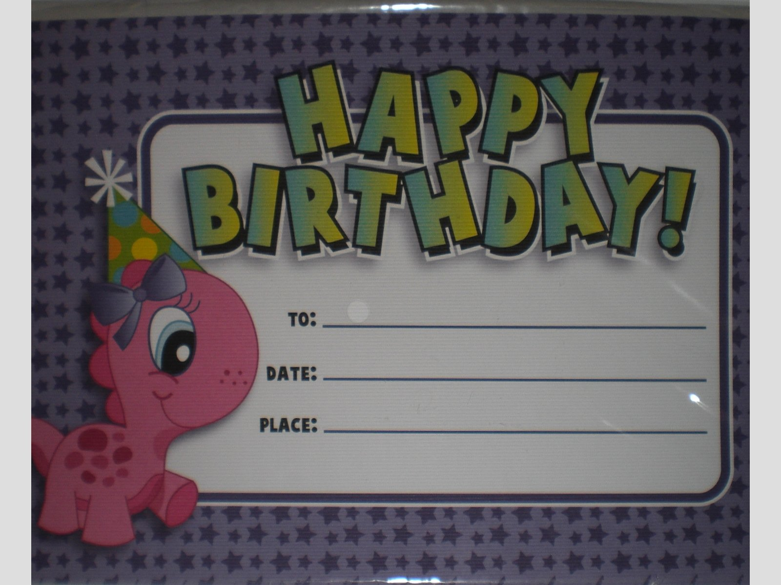 Happy Birthday Certificates Pink Dinosaur - Pack of 24