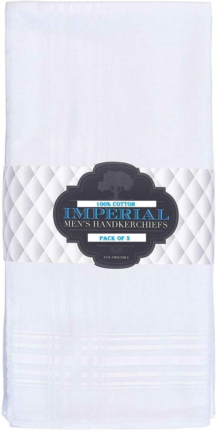 Imperial - Pack de 3 pañuelos Finos para Hombre, 100 % algodón ...