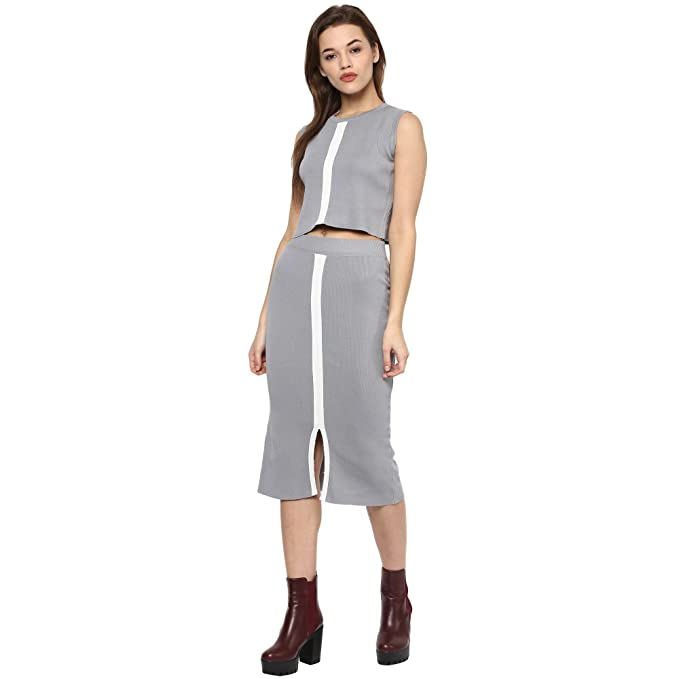54adaf71f4 CAMEY Women's Acrylic Fashion Crop Top and Skirt Set (Grey, Free Size):  Amazon.in: Clothing & Accessories