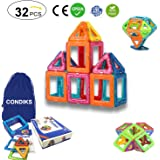 CONDIKS Magnetic Blocks, 32PCS Magnetic Building Blocks, Magnetic Tiles Toys for Kids and Toddlers, Magnet Building Toys, Creativity Educational Construction Stacking Blocks Birthday Gift Girls Boys