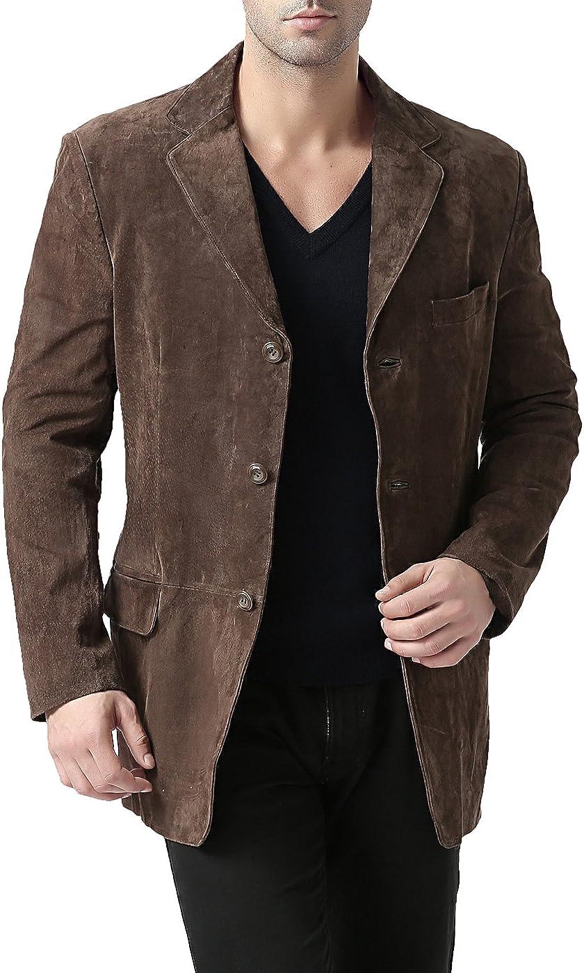 Regular Big /& Tall and Short BGSD Mens Robert 3-Button Suede Leather Blazer