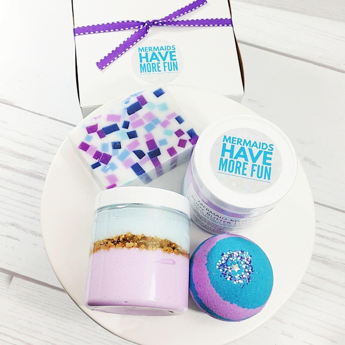 Mermaid Gifts for Women. Let's Be Mermaids Bath Boxed Spa Gift Set. Bath bomb. Body Scrub. Lotion