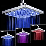 KUNGYO Showerhead Bathroom 8-inches Square LED light 3 Colors-changing Temperature sensor Controlled Rainfall Top Spray Shower Head