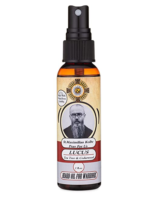 Catholic Beard Oil Made With Lourdes Water (Lucus: Tea Tree And Cedarwood) by Glory And Shine