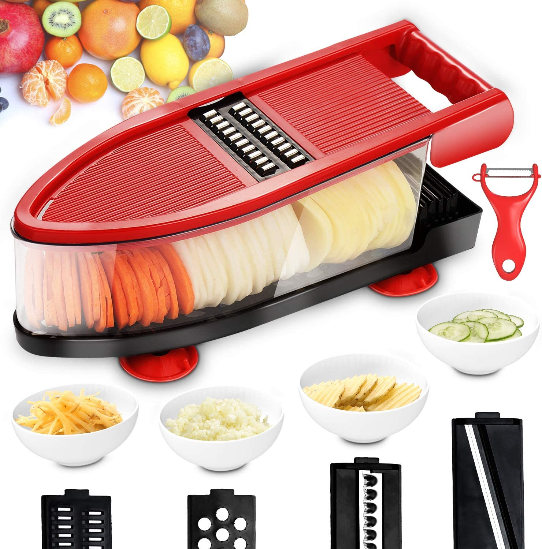 Vegetable Chopper Dicer, Chip Slicer and Vegetable Grater,Fruit and Vegetable Cutter, Potato Slicer Food Slicer, Cheese & Veggie Chopper - Food Chopper Dicer with 6 Blades