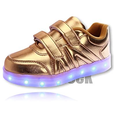 cfef2830eabb2 DoGeek Unisex Kids  Kid Allume Chaussures LED Shoes gold Size  9 ...
