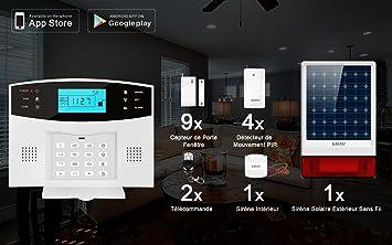 ERAY M2B GSM Alarme Maison Sans Fil Système Du0027alarme Anti Intrusion 433MHZ  Avec Sirène