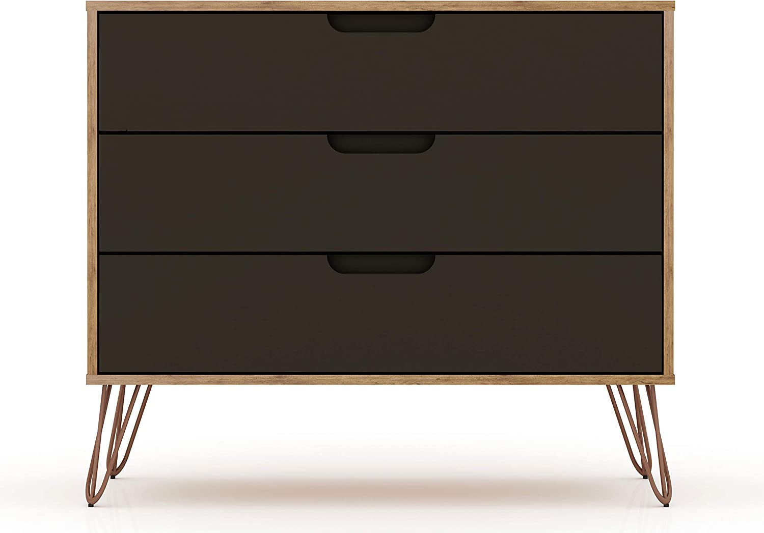 "Manhattan Comfort Rockefeller Mid-Century Modern 3 Drawer Bedroom Dresser, 35.24"", Nature/Textured Grey"