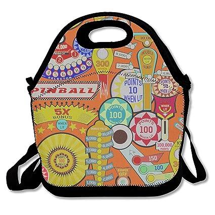 45a83d5e1c08 Amazon.com: Women Men Child Cartoon Pinball Orange Lunchbox Zipper ...