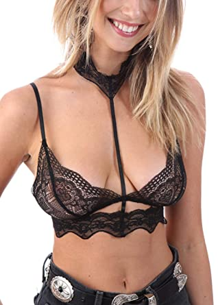 4227b6ca268f33 Wink Gal Women s Strappy Caged Wirelss Bra Sheer Lace Bralette with Collar  Black X-Small