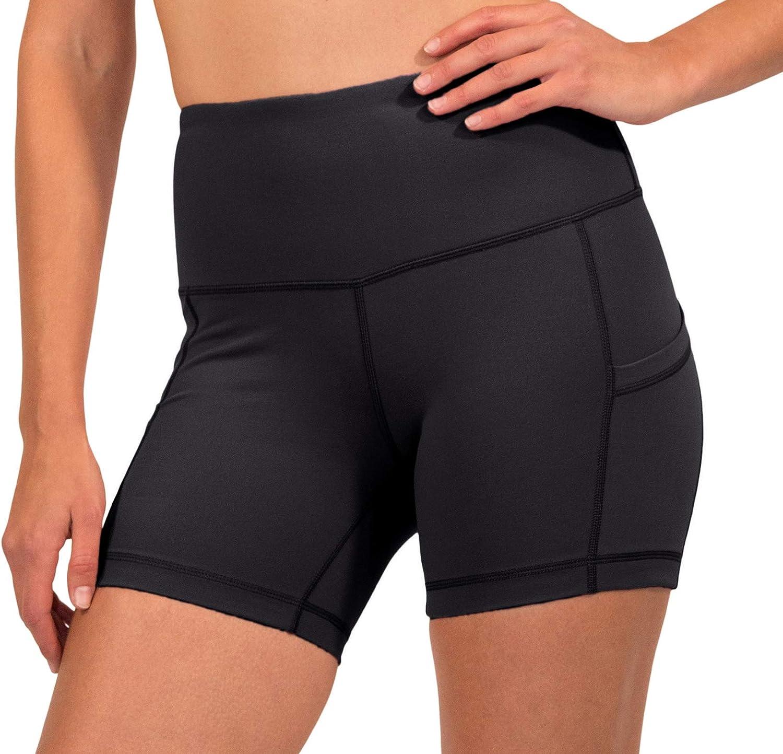 90 Degree By Reflex High Waist Power Flex Biker-Shorts mit Seitentaschen 12,7 cm 17,8 cm 22,9 cm.