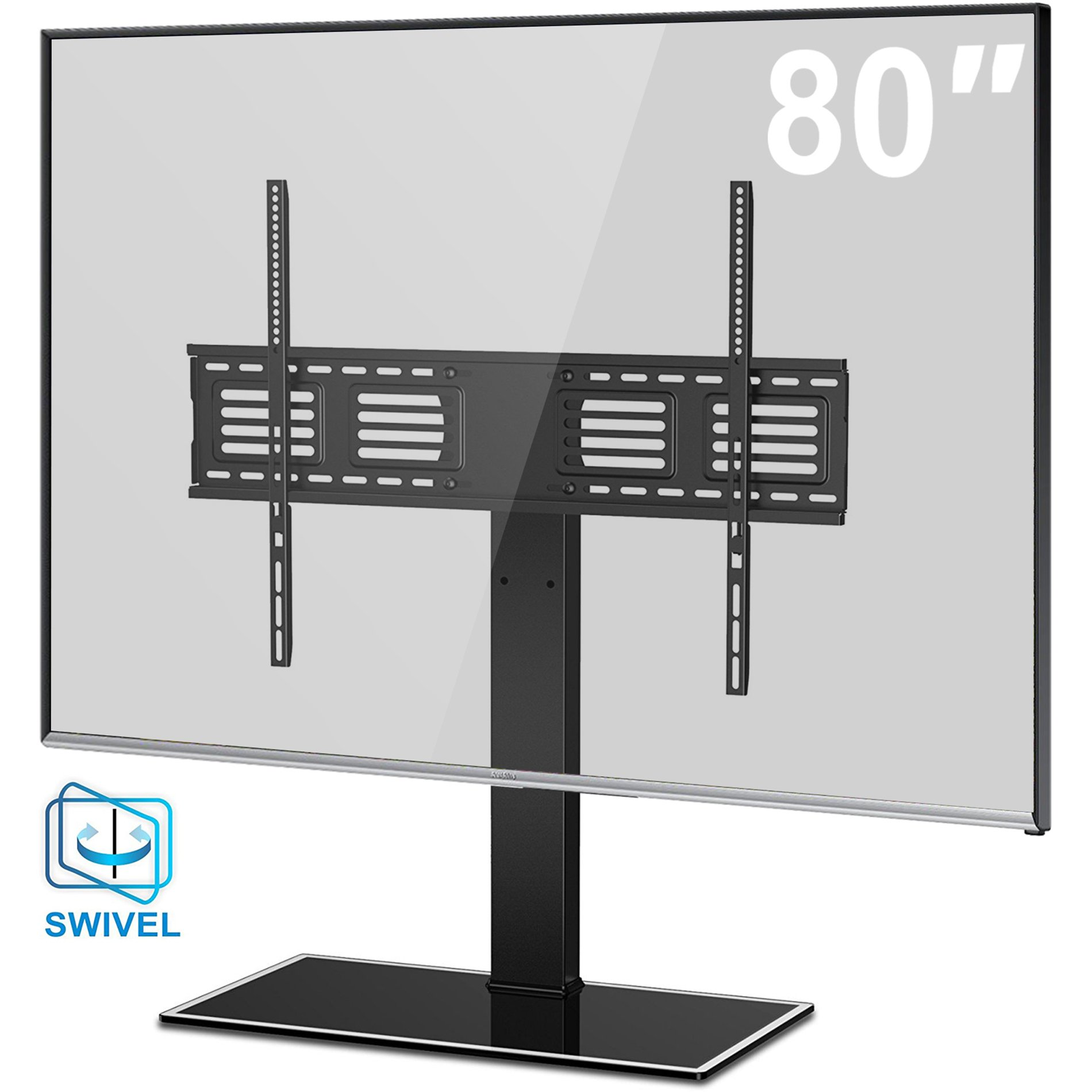 Fitueyes Universal TV Stand with Swivel mount Height Adjustable for 50inch to 80 inch TV FTT107003GB