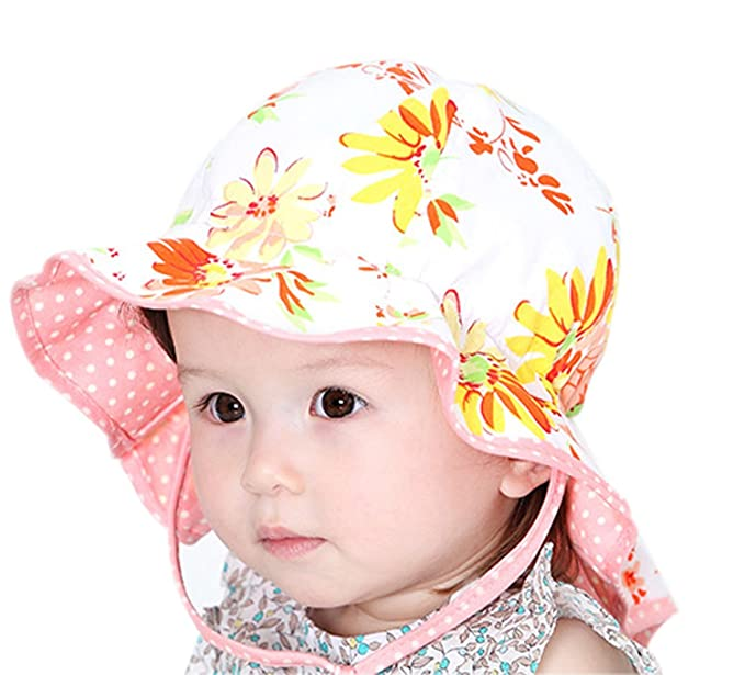 Amazon.com  GZMM Baby Girls Reversible Wide Brim Sun Protection Hat ... 22972cac0dd