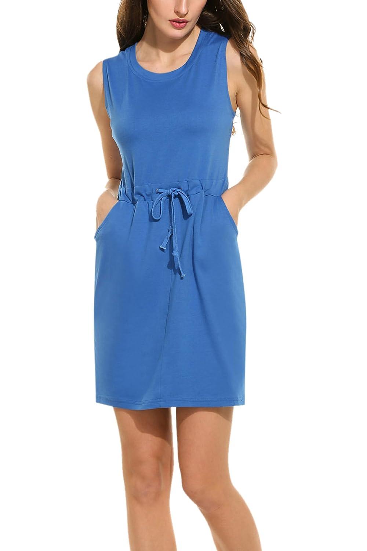 SE MIU Women Sleeveless Casual T Shirt Dress with Drawstring Waist Pocket Dress