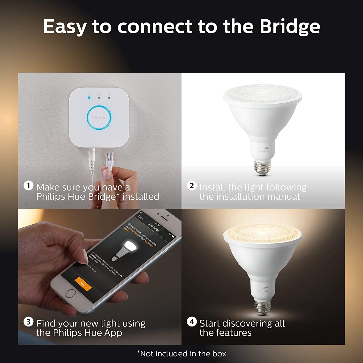 Renewed Philips Hue Hub required Works with Alexa 2 White PAR38 LED Smart Bulbs Apple HomeKit and Google Assistant Philips Hue White Outdoor PAR38 13W Smart Bulbs