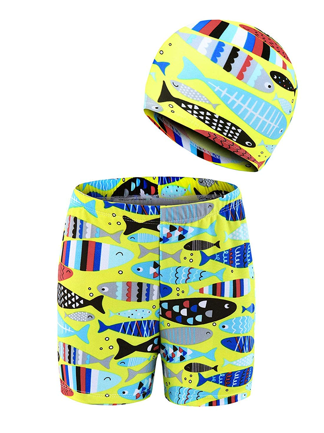 Boys Cartoon Swim Trunk with Hat Quick Dry Sun Protective Swimming Shorts 4-10T