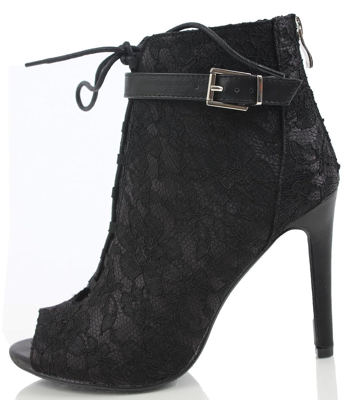 Women's Marlen Lace Up Buckle Strap Single Sole High Heels (Black Lace)