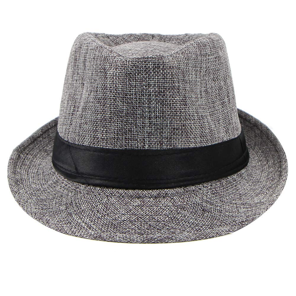 YQZB Men Hat Classic Vintage Spring Summer Sun Hats Basic Cool Lightweight Linen Jazz Fedora Cap Outdoor Panama Visor