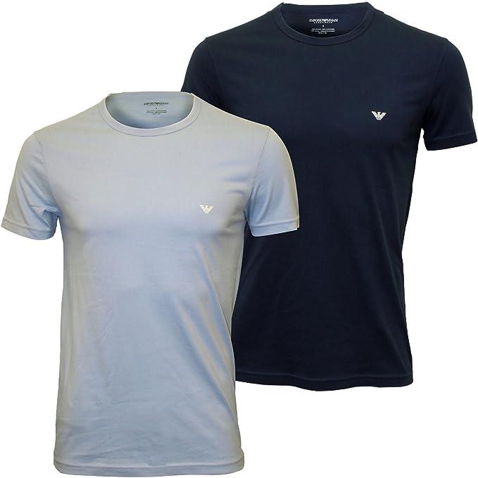 Emporio Armani Camisetas 2-Pack Men Pure Cotton Eagle Logo, Claro/Oscuro Azul XX-Grande: Amazon.es: Ropa y accesorios
