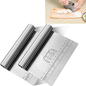 Pro Dough Pastry Scraper/Cutter/Chopper Stainless Steel Mirror Polished with Measuring Scale Multipurpose- Cake, Pizza Cutter - Pastry Bread Separator Scale Knife 2PCS
