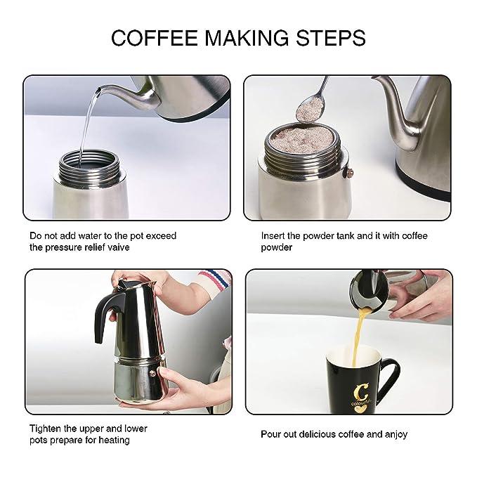 Cafetera italiana de inducción, para café expreso y café, de acero inoxidable, 6 tazas (300 ml), perfecta para uso en el hogar y la oficina
