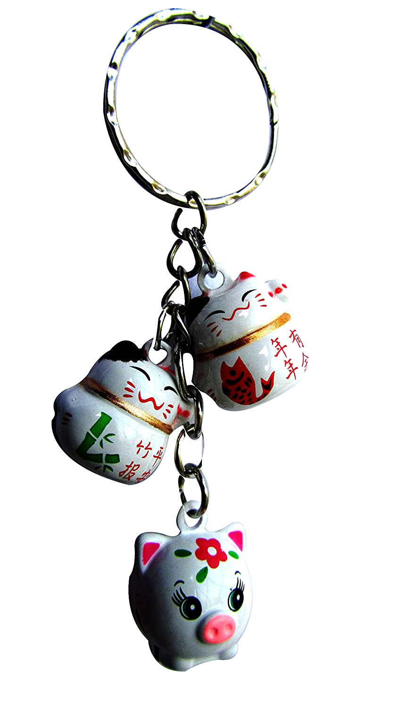 CHN Elements. Bch-3-feng Shui Laiton Bell Bijou de Sac/Key Chain- Lucky Cats & Pig–Prospérité et sécurité Le Long de l'année du Cochon China Elements