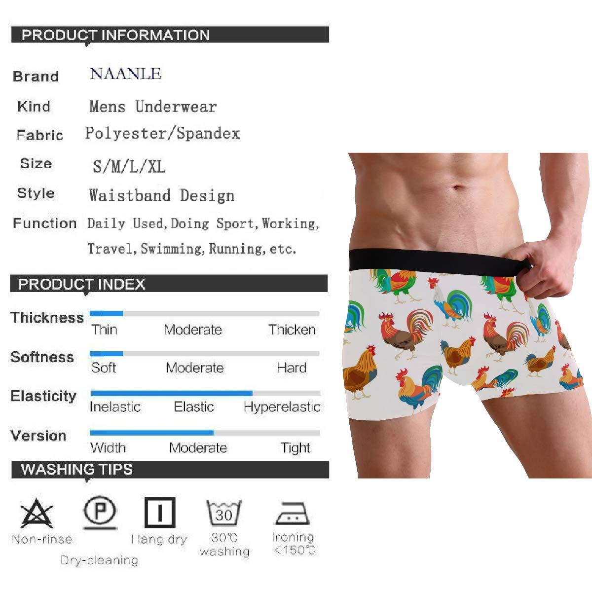 Naanle Mens Stylish Pattern Waistband Boxer Brief Stretch Swimming Trunk