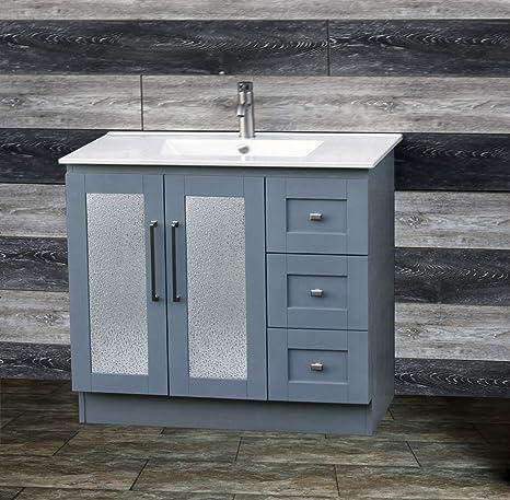 36 Bathroom Vanity Cabinet Ceramic Lavatory Top With
