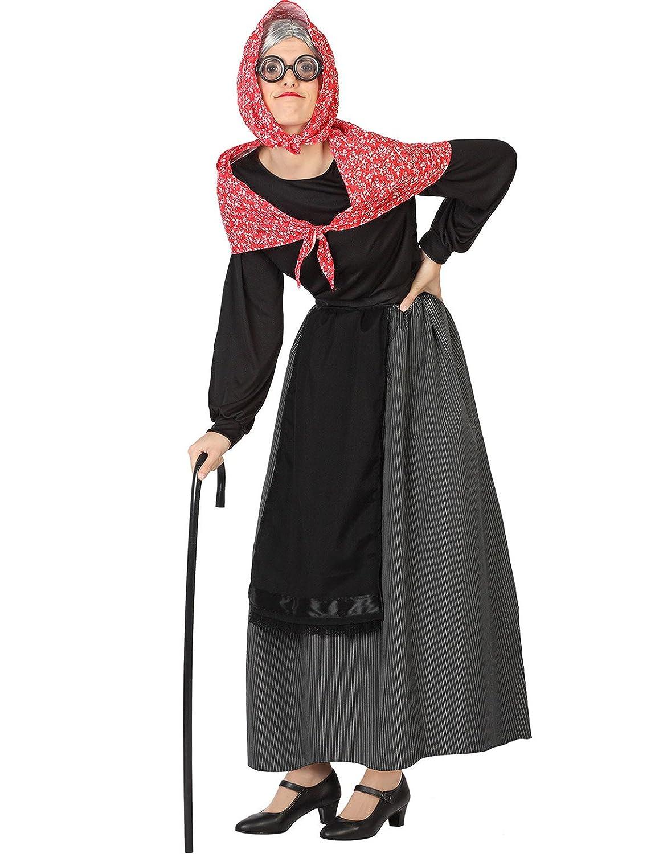 Atosa-26900 Disfraz Vieja Color negro M-L 111-26900