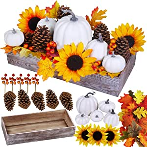 Bulk Assorted Artificial White Pumpkins Fall Centerpiece Artificial Maple Leaves in Rectangle Whitewashed Wooden Box Fall Thanksgiving Table Decoration