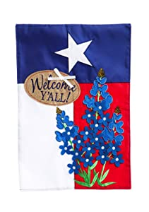 Evergreen Blue Bonnets Applique Garden Flag, 12.5 x 18 inches