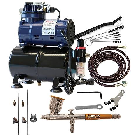 Paasche Juego de aerógrafo de doble acción alimentación por gravedad aerógrafo y compresor con tanque