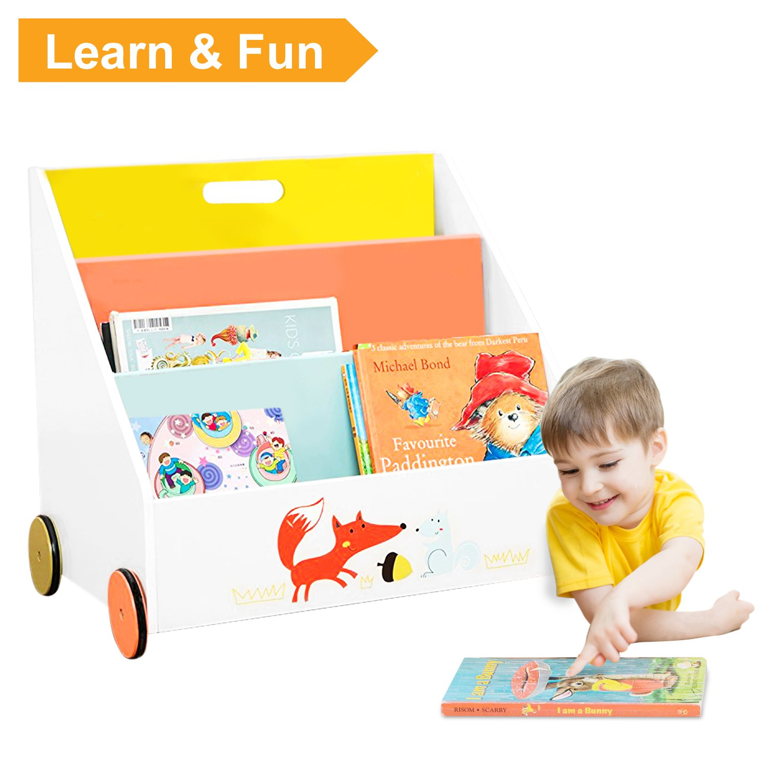 Labebe Child Bookcase, Small Wooden Bookshelf with Wheels, 2-in-1 Fox Printed Orange Bookcase for Kids 1-5 Years, Movable Bookcase/Small Bookcase kid/Child Wooden Bookcase/Wood Bookcase Storage
