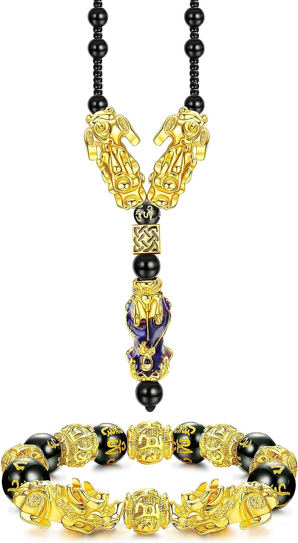 Ubjuliwa Feng Shui Bracelet Necklace Set Pi Xiu Bracelet Real Black Obsidian Wealth Bracelet for Women Men Good Luck Jewelry Elastic Adjustable