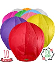 10 Pcs Sky Lanterns Biodegradable Colorful Chinese Lanterns Wish Flying Paper Lanterns for Wedding, Birthday, Christmas, Memorial, Party, Anniversary, Halloween, New Years, Sea Beach Vacation Holiday!