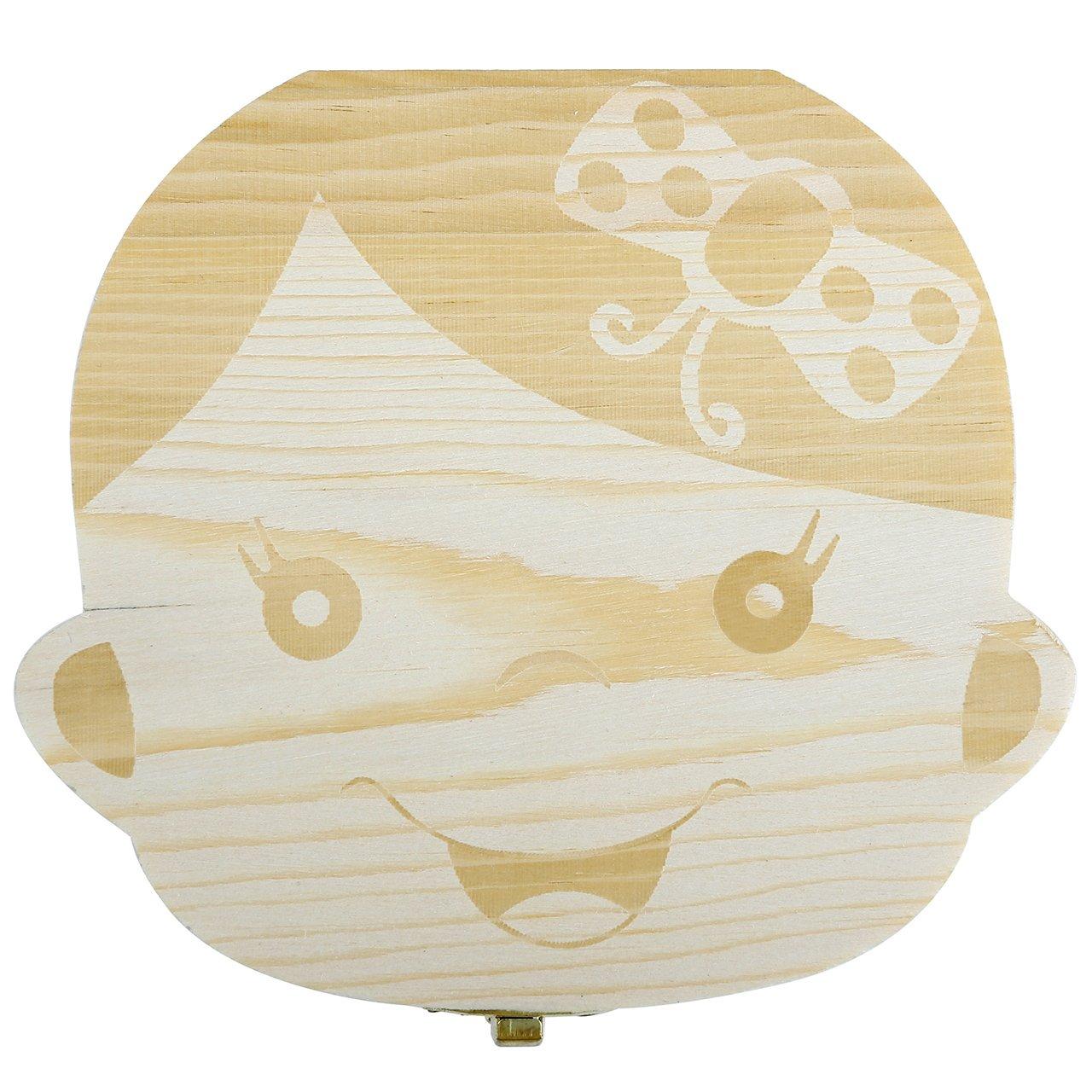 Mogoko baby Kinder Original Holz Haar Milchzahndose Milchzähne Zähne box Kasten mit Englisch Version Souvenir Aufbewahrungsbox (Mädchen)