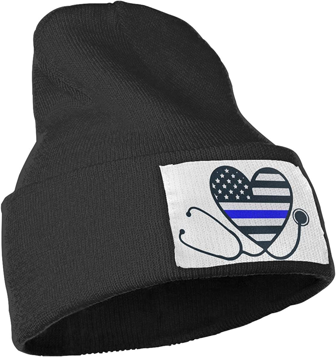 Nurses Police Wife Thin Blue Line Thick Skull Cap WHOO93@Y Mens and Womens 100/% Acrylic Knitting Hat Cap