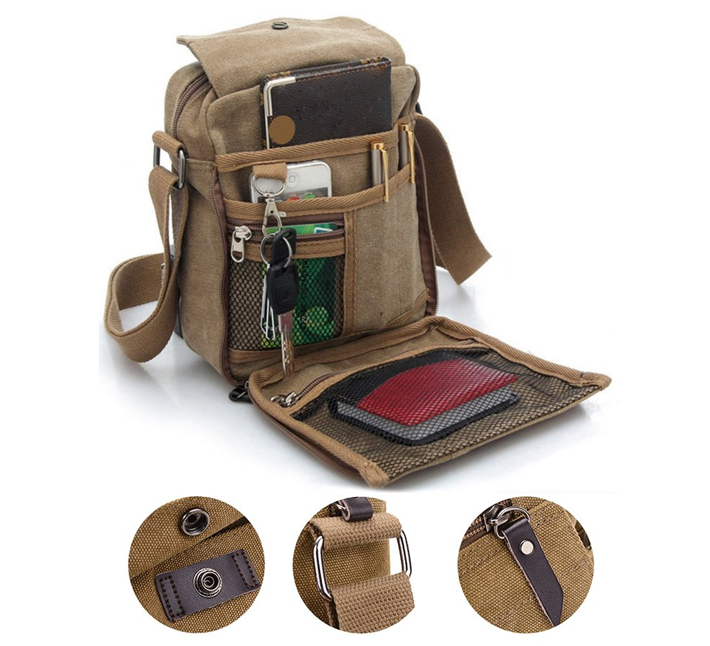 Brand New Men's Canvas Shoulder Messenger Rucksack Backpack School Travel Messenger/ Satchel Bag (Khaki) The Best Kingdom 123