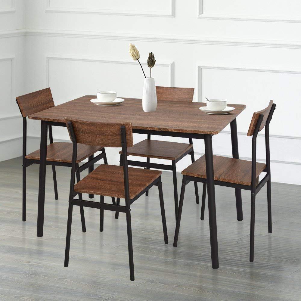 Amazon com karmas product 5 piece wood dining table set home