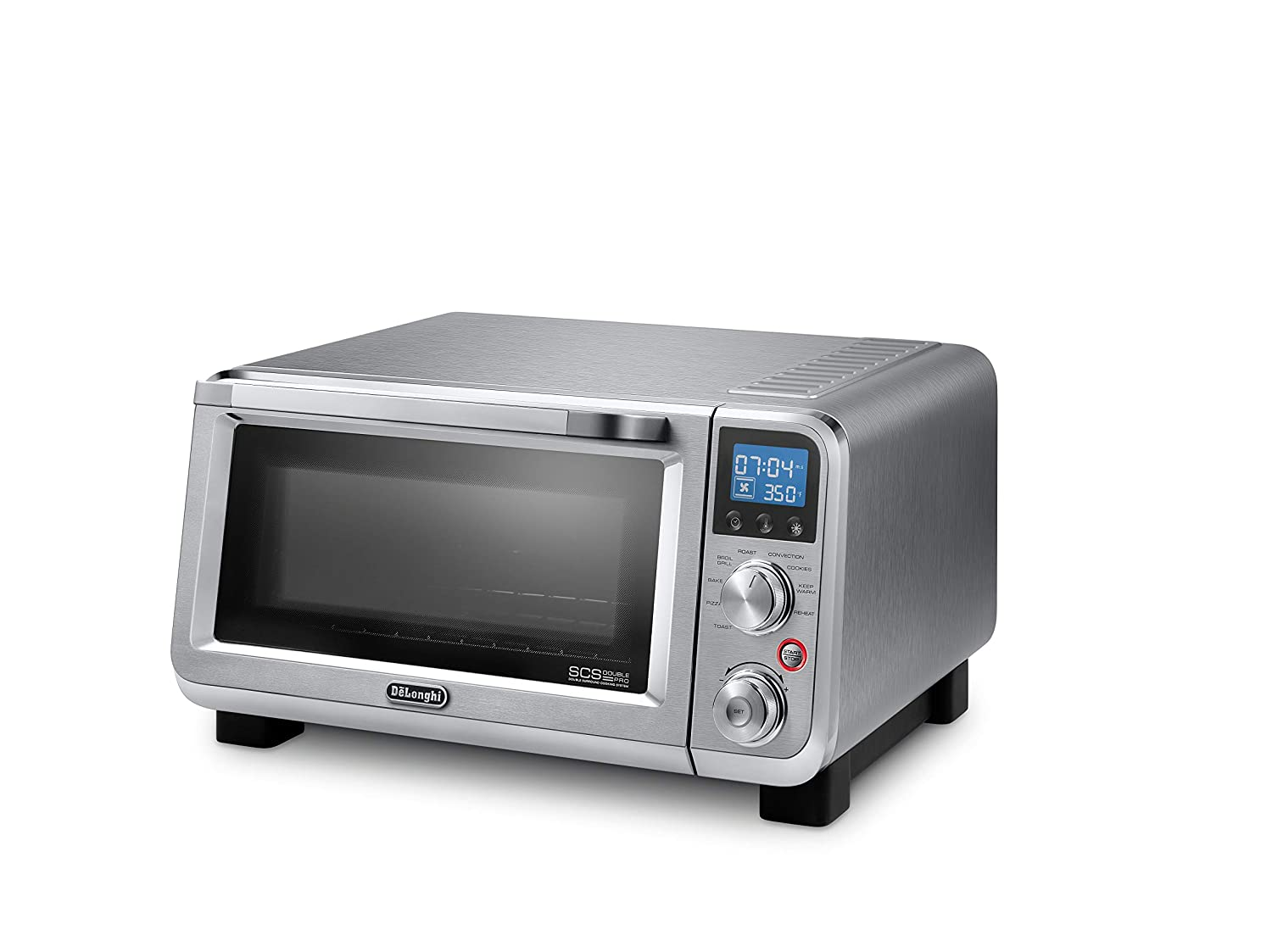 De Longhi Livenza Compact 1800W Countertop Convection Toaster Oven, 9 Presets Roast, Broil, Bake, Easy to Use, 14L .5 cu ft , Stainless Steel, EO141150M