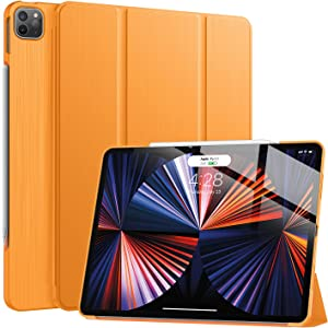 Soke New iPad Pro 12.9 Case 2021(5th Generation) - [Slim Trifold Stand + 2nd Gen Apple Pencil Charging + Smart Auto Wake/Sleep],Premium Protective Hard PC Back Cover for iPad Pro 12.9 inch(Citrus)
