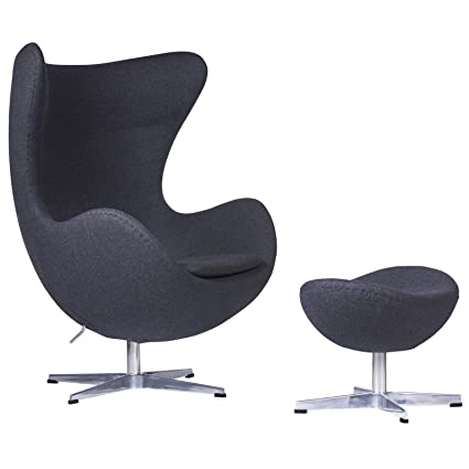 Egg Chair Jacobsen.Amazon Com Leisuremod Arne Jacobsen Egg Chair Ottoman In Dark