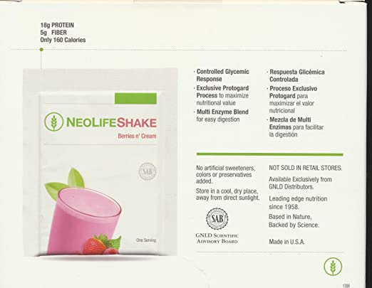 Amazon.com: Neolifeshake Berries N Cream Box of 15 Packets ...
